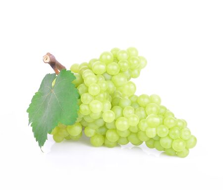 Fresh green grapes with leaves. Isolated on white background. Stock fotó