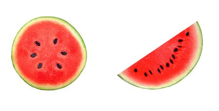 A half of fresh watermelon isolated on white