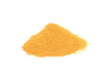 Turmeric (Curcuma) powder pile isolated on white background, herb for vitamin C.