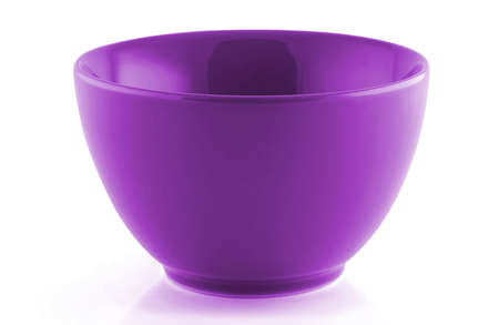 purple  empty bowl isolated on white background; ceramic bowl for food.