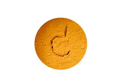 Heap turmeric powder or curcuma powder on a white background.; turmeric is herb high vitamin C.