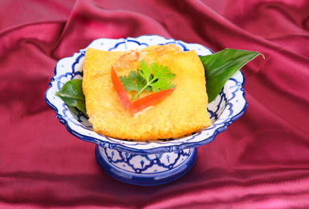 Kanom Buang or Thai dessert in beautiful bowl Stock fotó