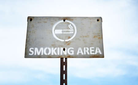 smoking area signboard ;allow smoking  in the sky.