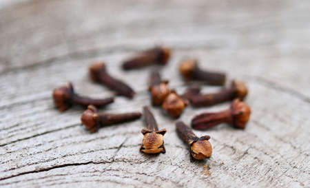 Cloves (flower buds of Syzygium aromaticum). Clipping paths, shadow separated on wood ;herb for health..close up. Stock fotó