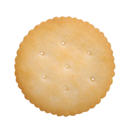 Biscuit Texture Closeup Details Isolated On White;Single butter circle biscuits on white, top view. Stock fotó