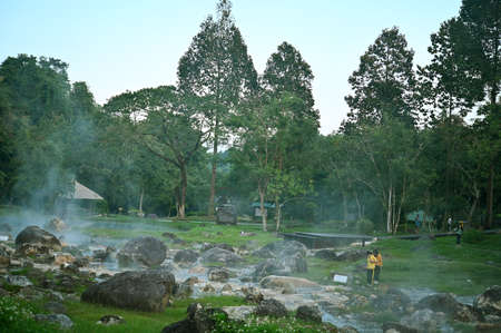 hot fountain pond of local area in Lumpang Thailand in vacation time. Stock fotó