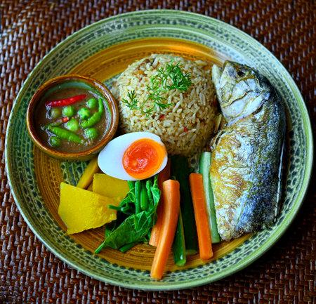 Thai traditional food, mackerel, chili paste, vegetables, eggs, healthy food for life. Stock fotó