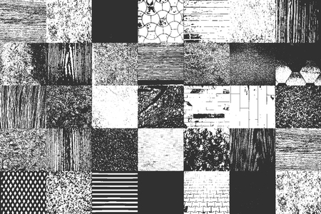 Set of distress old textures. include wood, concrete. metal, plaster, fabric. EPS8 vector.