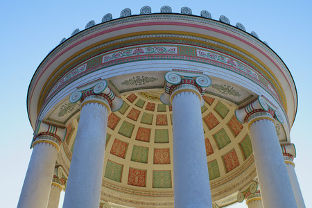 The Monopteros temple in the English Garden in Munich, Germany from below in winter