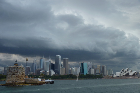 Sydney, Australia - Storm clouds over sidney looking like mothership from independence day