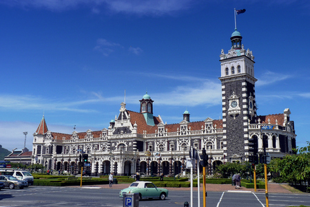 beautiful Dunedin Railway Station, New Zealand Stock Photo