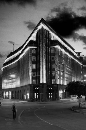 Illuminated Chile House in Hamburg germany europe Stock Photo