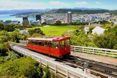 Wellingtons famous cable car goes up towards the Wellington Observatory in Wellington