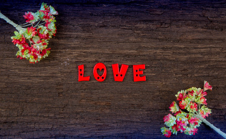 nostalgy: word Love on wood background and handmade paper flower