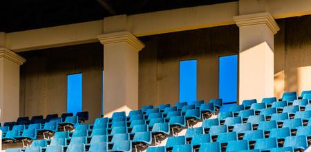 grandstand: old blue grandstand