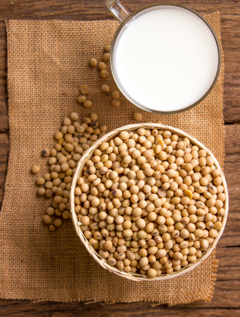 japanese foods: soy bean soy milk on wood background Stock Photo