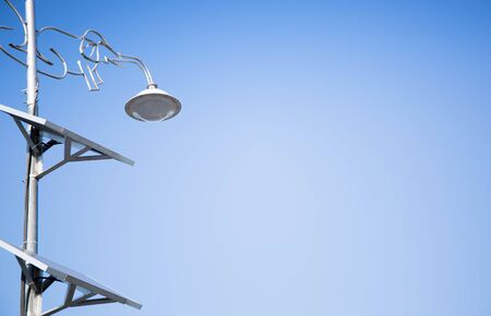 solarpower: solar-power cell on street light Stock Photo