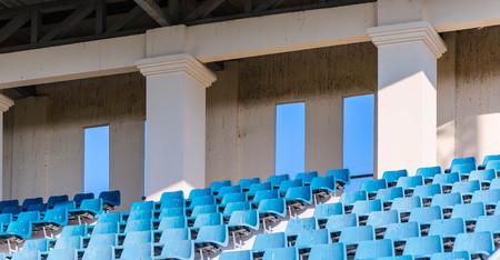 diagonally: old blue grandstand