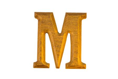 capital letter: M Alphabet made from golden teak on white background Stock Photo