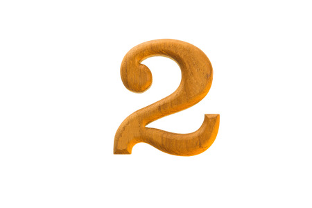 number five: Number 2 golden teak wood on white background Stock Photo