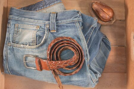 leather belt: Vintage Filter : Male jeans and Leather belt in wood box