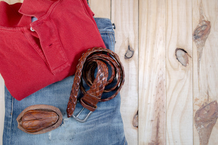Vintage Filter : Male clothes collection on wood background selective focus Stock Photo