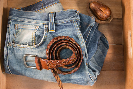 checkered polo shirt: Vintage Filter : Male jeans and Leather belt in wood box