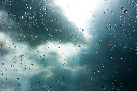 surface closeup: Drops of rain on glass , rain drops on clear window Stock Photo