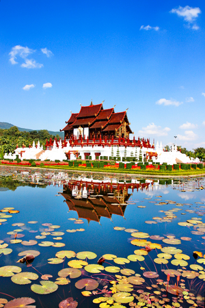 Traditional thai architecture in the Lanna style , Royal Pavilion Ho Kum Luang at Royal Flora Expo, Chiang Mai, Thailand