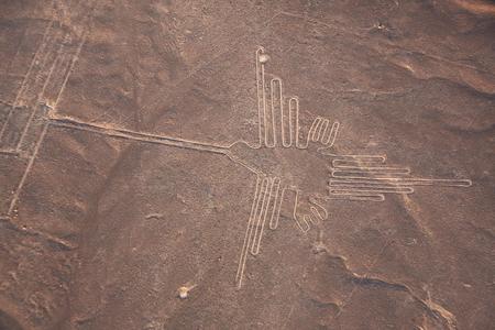 Widok z lotu ptaka linii Nazca, Hummingbird, Peru, Ameryka Południowa