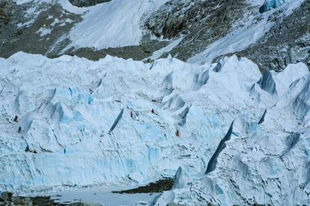 Climbers are practicing with their gears on giant glacier in everest base camp area,Nepal