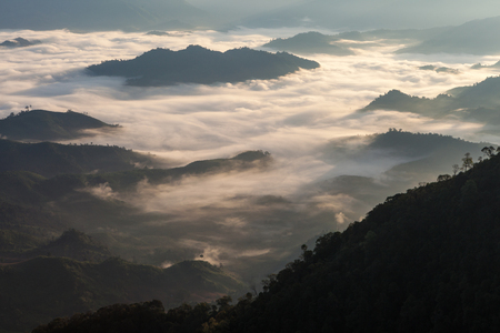 Beautiful scenery of the Sea of mist over the tropical rain forest in northern part of Thailand during the sunrise moment