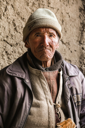 Leh,india-Jan 30,2013;Portrait of Ladakhi male in traditional dress at the remote village in Ladakh,Jammu and Kashmir,India Editorial