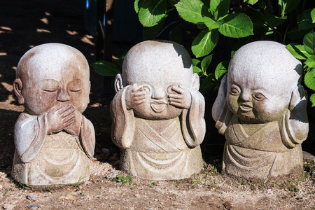 Three wise novices(see no evil-hear no evil-speak no evil) gardening decoration stones.