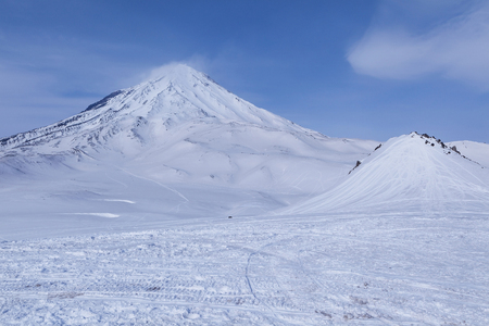 Ski field for snow mobile riding in the valley of snow mountains,Kamchatka,Russia