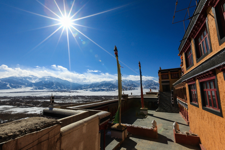 View of the Himalaya valley against sunlight from Thiksey monastery during winter in Leh,Ladakh,Kashmir,India Zdjęcie Seryjne