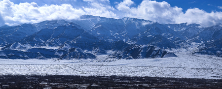 Panorama view in winter of Leh valley with himalaya mountain range covered with snow from Leh,Ladakh,kashmir,India
