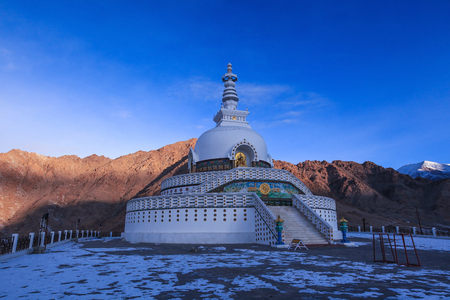 Morning light at Shanti stupa in Leh,Ladakh,Kashmir,India