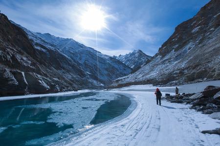 Chadar trek (The frozen Zanskar river trekking) during winter in Leh,Ladakh,Kashmir,India.