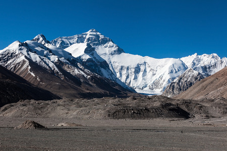 Breathtaking view of the north face of Everest mountain,the highest mountain with 8850 meters,Tibet,China