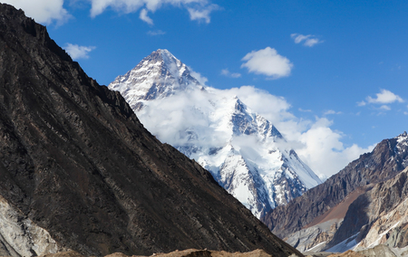 Impressive view of K2 mountain from Concordia camp site during trekking to K2 base camp on the sunny day,Skardu,Gilgit,Pakistan Stock Photo