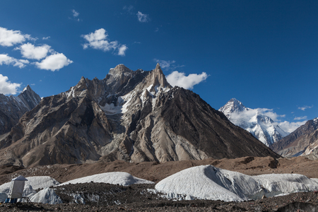 Beautiful view of K2 mountain from Concordia camp site during trekking to K2 base camp on the sunny day,Skardu,Gilgit,Pakistan