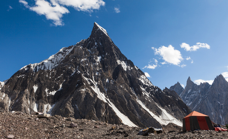 Beautiful view of Mitre peak from Concordia camp site during trekking to K2 base camp on the sunny day,Skardu,Gilgit,Pakistan Stock Photo