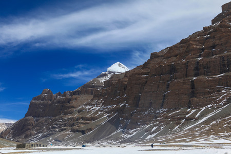 Beautiful landscape with south face of sacred Kailash mountain,Tibet, behind huge mountain with blue sky in background Zdjęcie Seryjne
