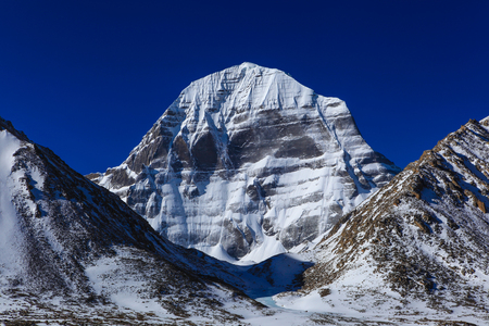 Beautiful scenery North face of sacred Kailash mountain covered with snow with clear blue sky in background,Tibet Zdjęcie Seryjne