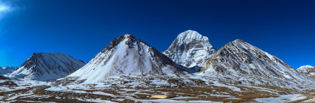 Panorama scenery of north face of sacred Kailash mountain with the blue sky in background,Tibet ,China