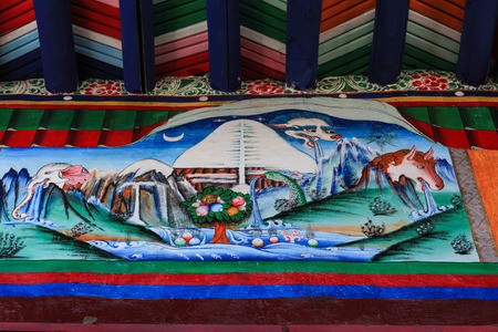 Tibet,China-14 April 2013;A tibetan mural shows four symbols of each face(peacock,horse,elephant,lion) of sacred Kailash mountain which is the origin of four rivers(karnali,sutlej,indus,brahmaputra)
