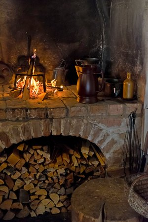 fire place: An old open fire place in the house with chimney Stock Photo