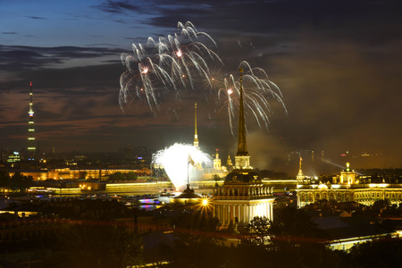Salute in honor of the Navy Day in Saint-Petersburg., Russia