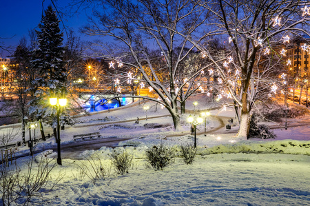 Central park in Riga decorated for Christmas and New Year celebration. Latvia. The Baltic states. Europe